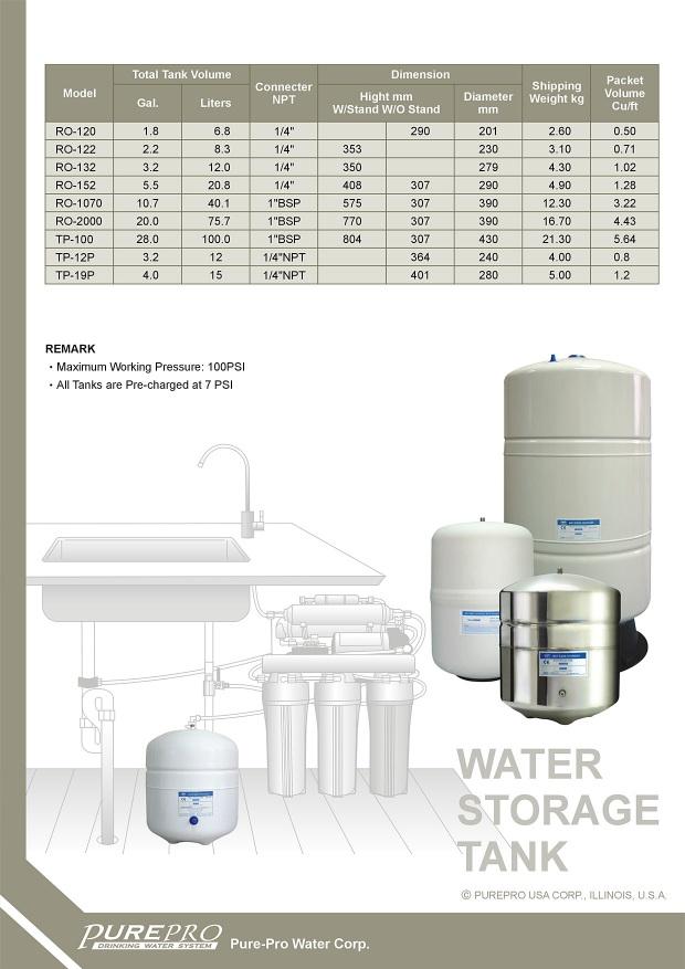 Purepro 174 Reverse Osmosis Water Storage Tanks